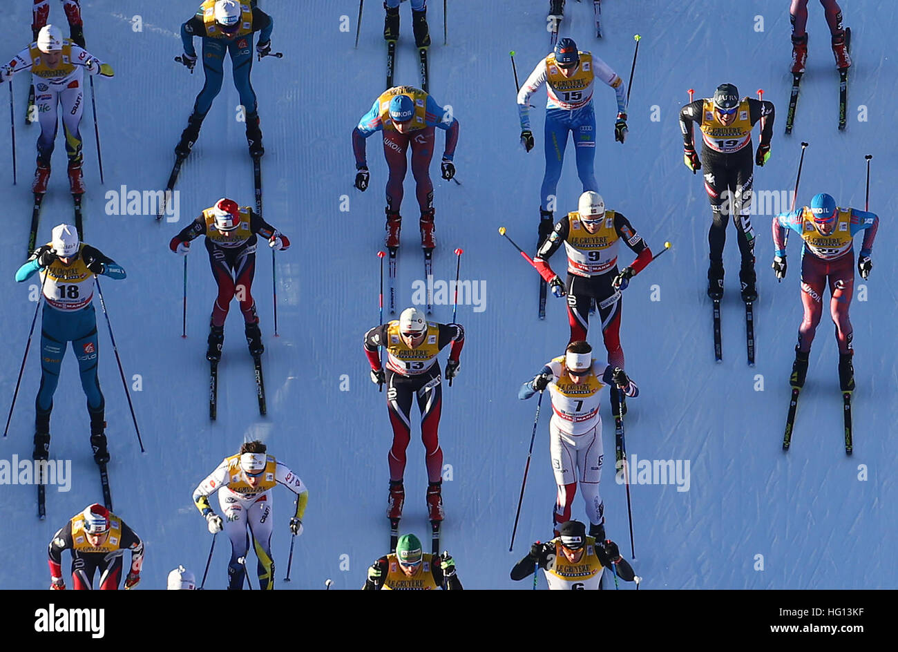Oberstdorf, Germany. 03rd Jan, 2017. Cross-country skiers in action during the FSI Tour de Ski competition in Oberstdorf, - Stock Image