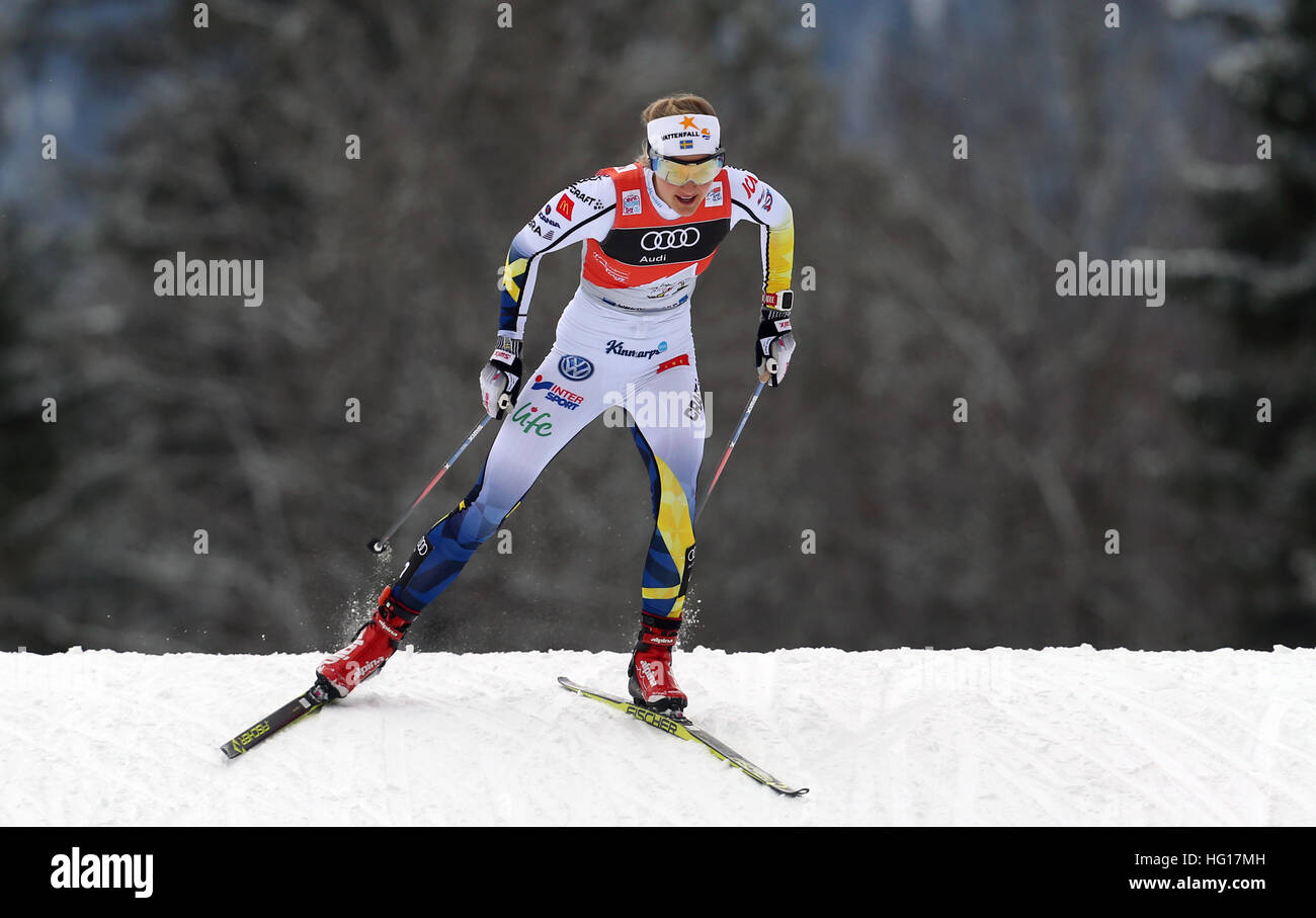 Oberstdorf, Germany. 04th Jan, 2017. First-place winner Stina Nilsson of Sweden skis in the women's pursuit race Stock Photo