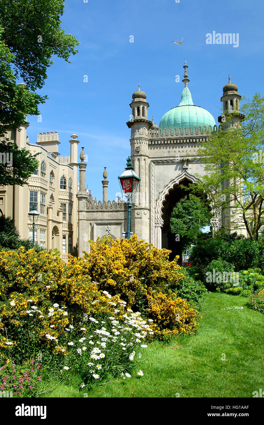 Flowers and the entrance to the Royal Pavilion Gardens Brighton East Sussex England. - Stock Image