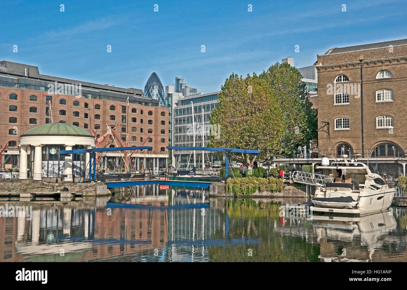 St Katharine's Dock, Wapping, River Thames, London; England, - Stock Image