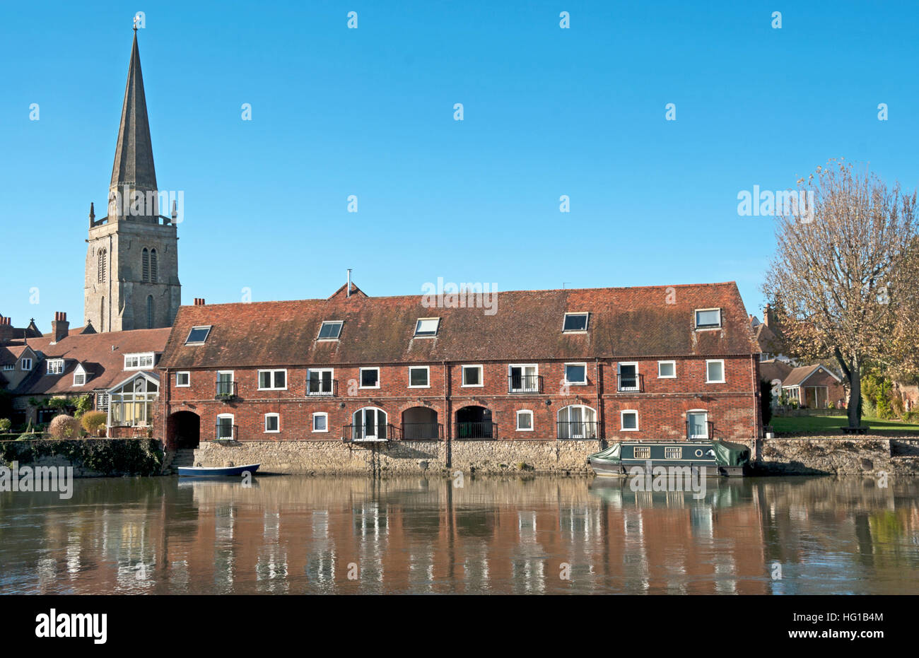 Abingdon, Buildings and St Helens Church Spire by River Thames, Oxfordshire, England, - Stock Image