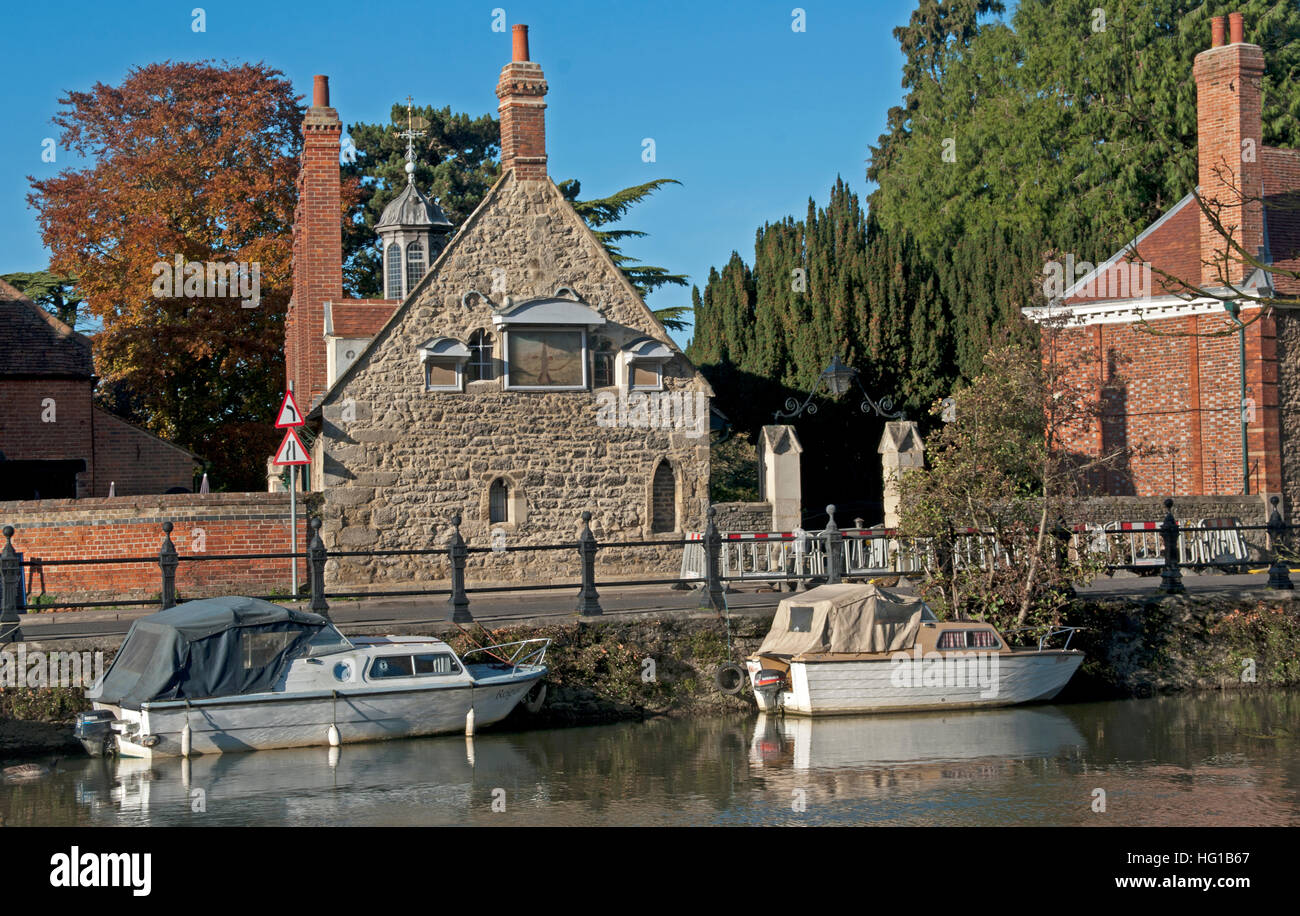 Abingdon, Building by Thames, River Thames, Oxfordshire, England, - Stock Image