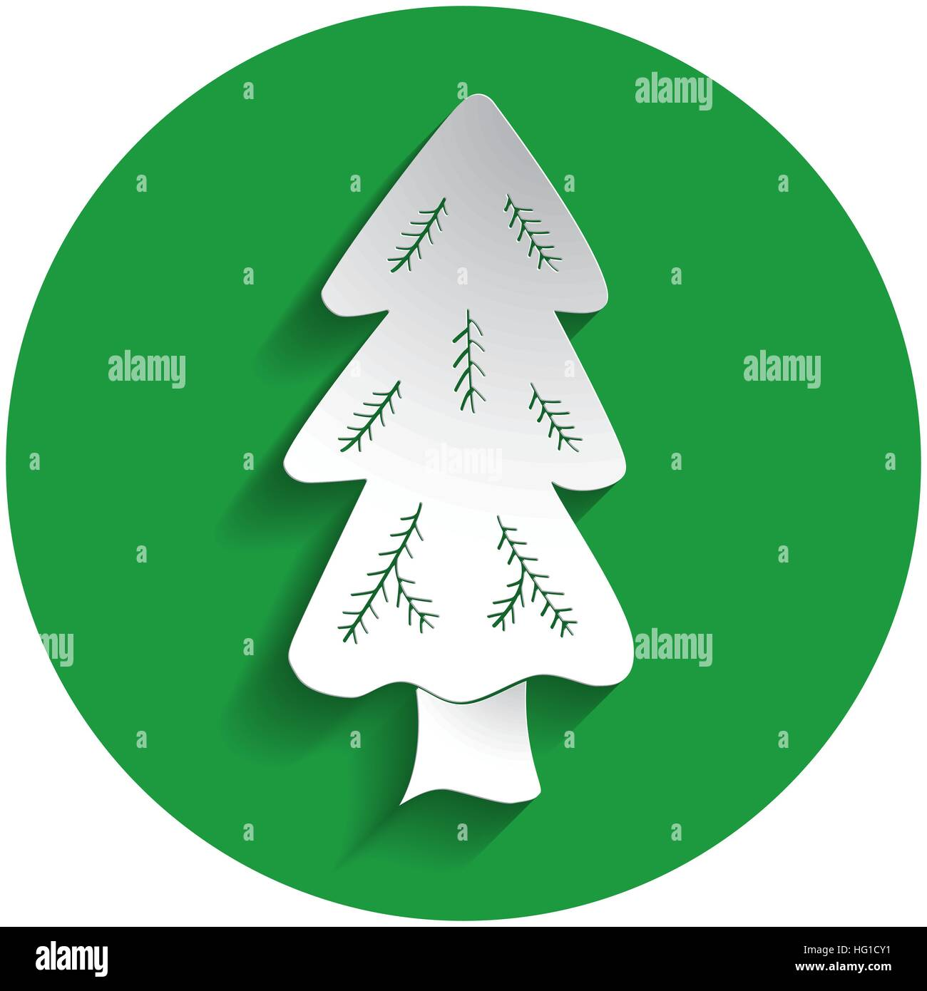 Spruce icon in paper style on green circle - Stock Vector