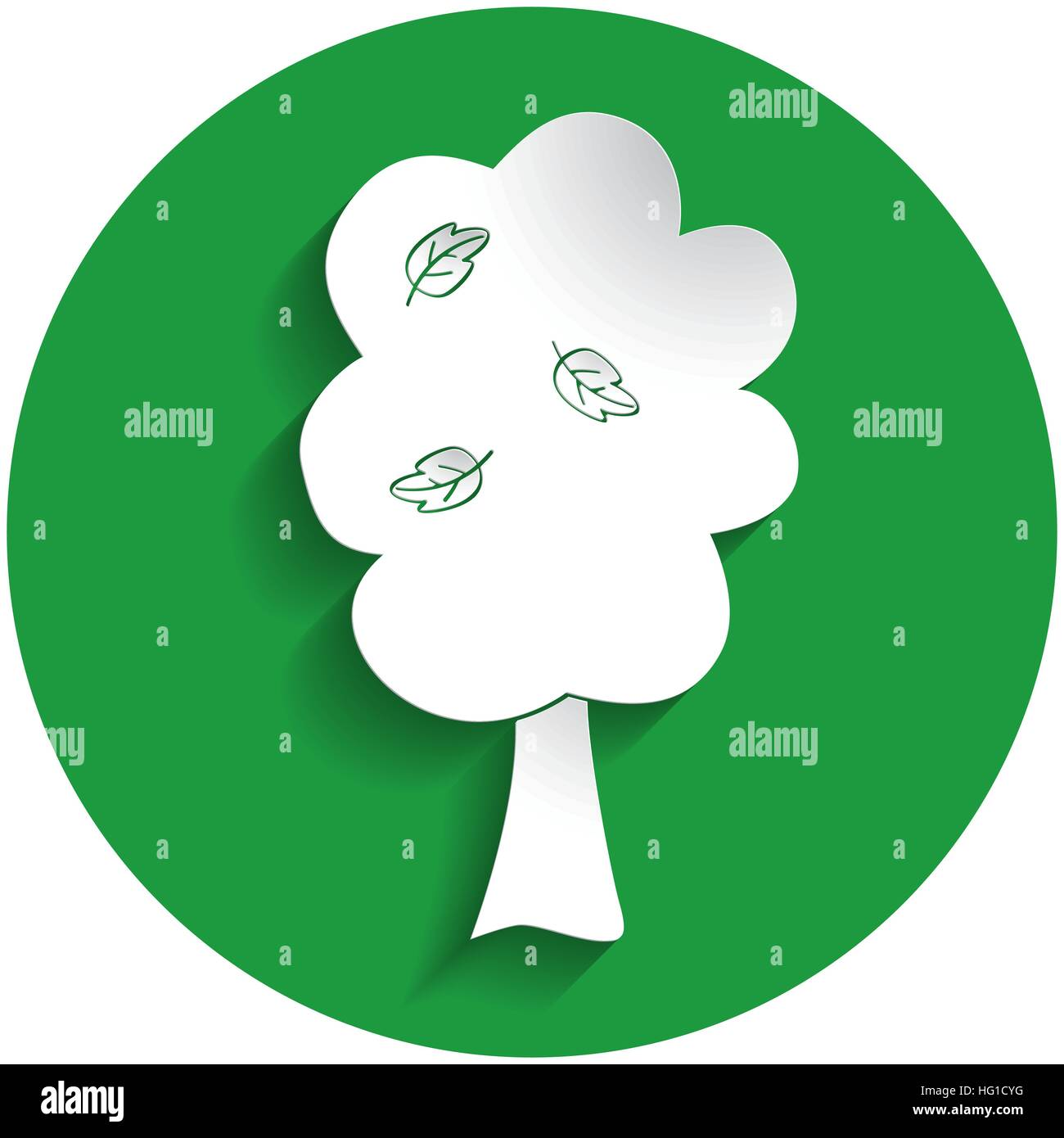 Fruit tree icon in paper style on green circle - Stock Vector