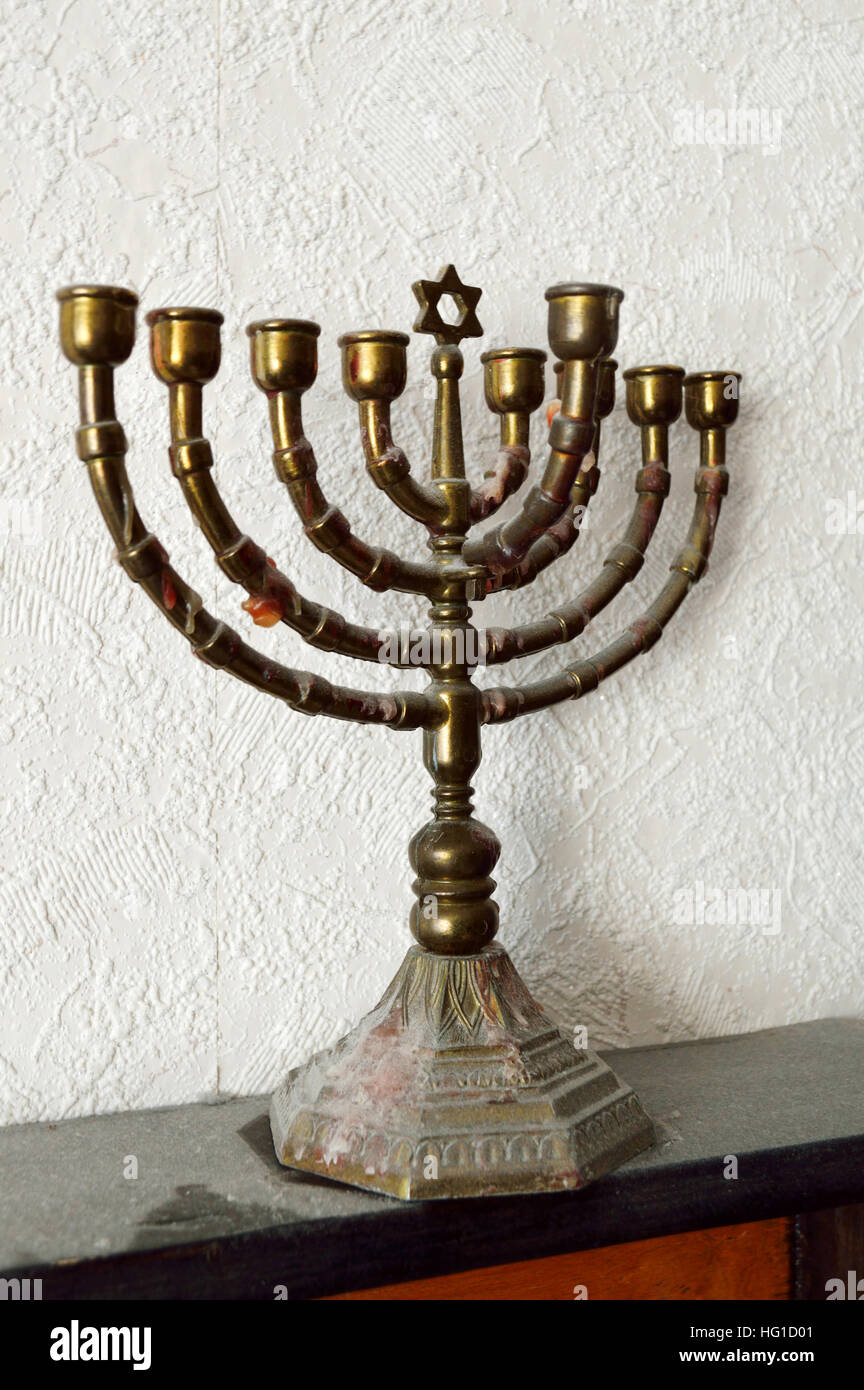 A metal Hanukkah Menorah, or Hanukkiah - Stock Image