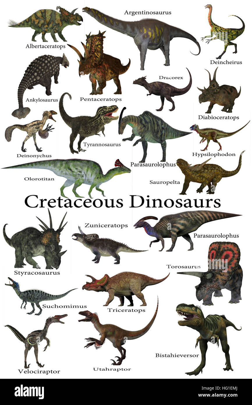 Cretaceous Dinosaurs - A collection of various dinosaurs that lived around the world during the Cretaceous Period. - Stock Image