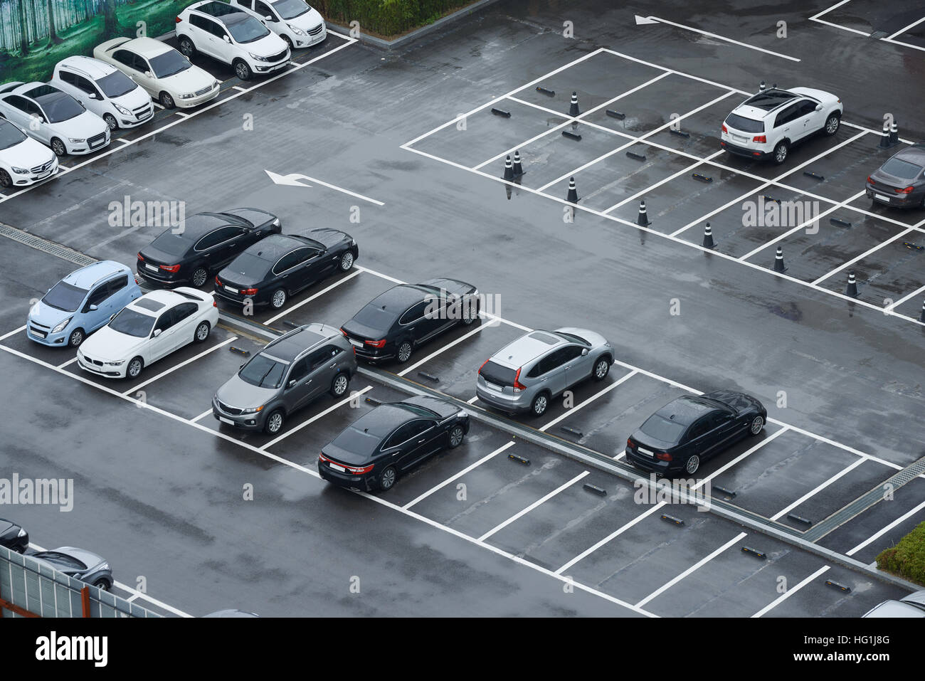 Outdoor Parking lot overlooked from high place in rainy day in Korea. - Stock Image
