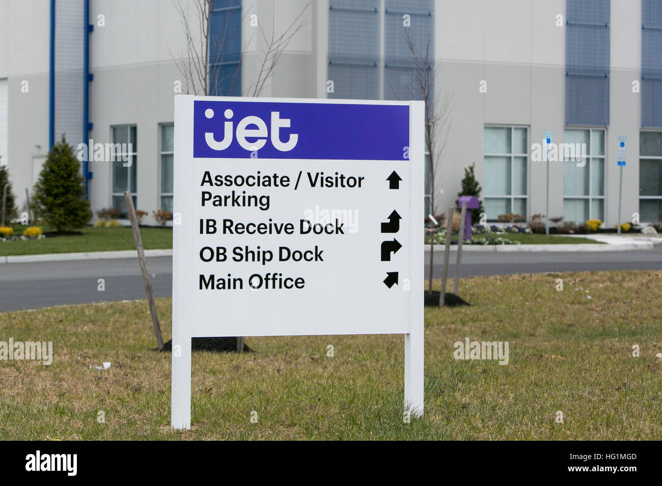 A logo sign outside of a facility occupied by Jet.com in Pedricktown, New Jersey on December 11, 2016. - Stock Image