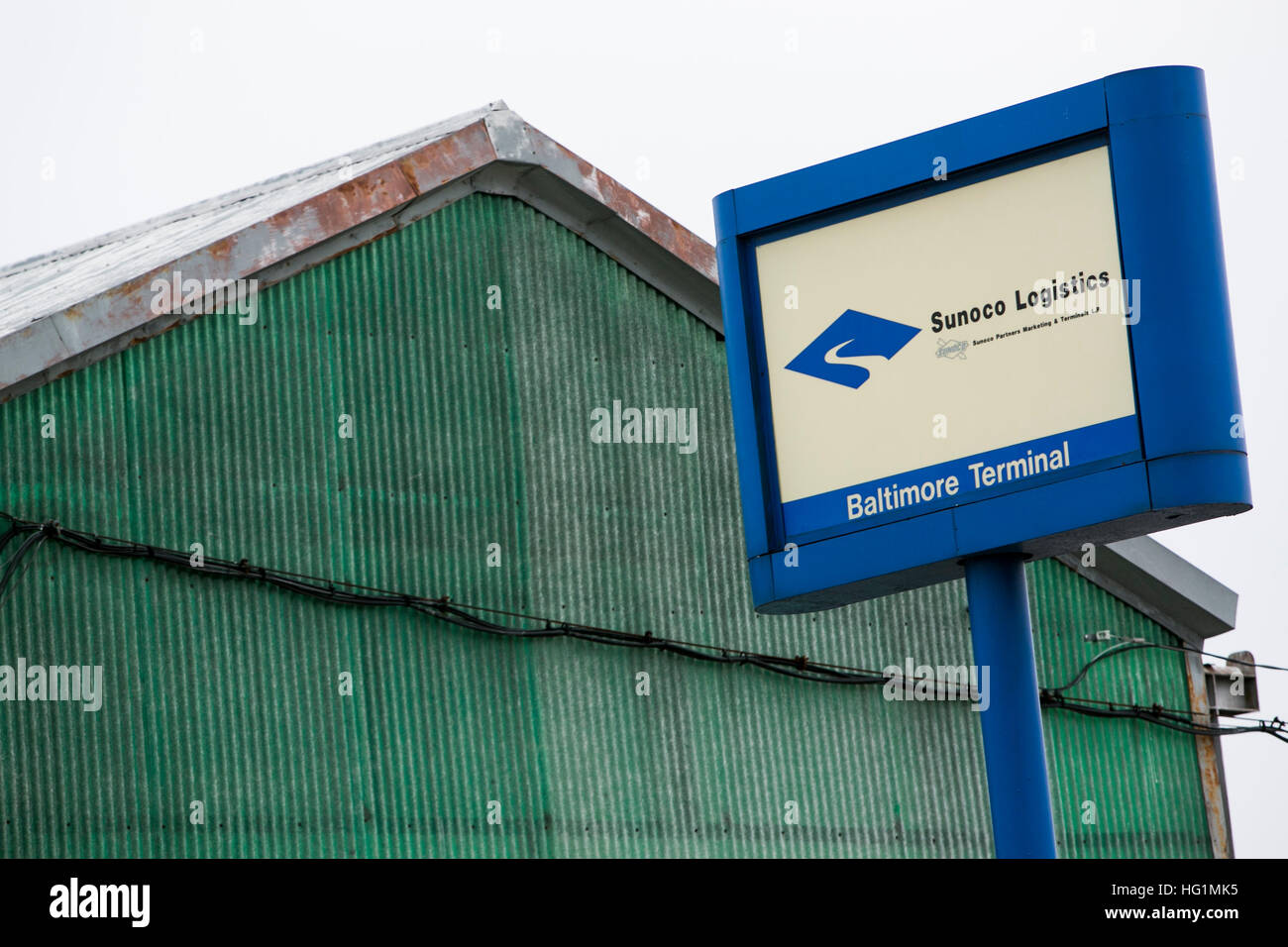 A logo sign outside of the Sunoco Logistics Partners LP Baltimore Terminal in Baltimore, Maryland on December 11, - Stock Image