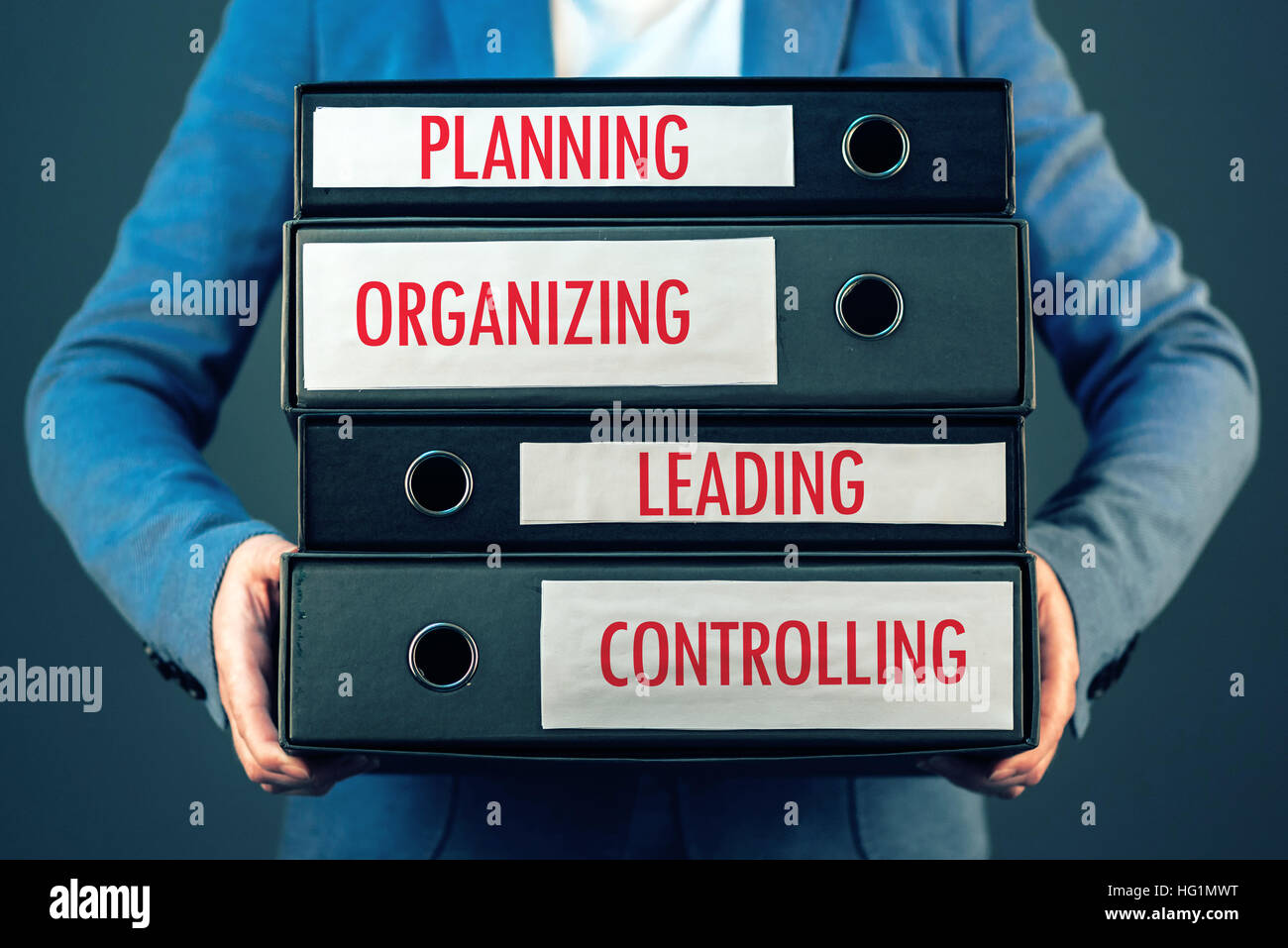 Four basic functions of management process in business organization - planning, organizing, leading and controlling. - Stock Image
