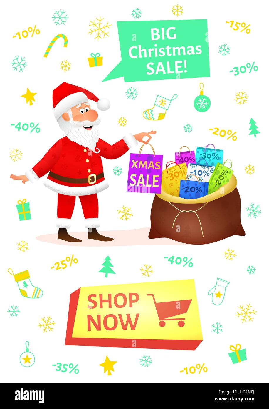 Christmas shopping banner with button shop now. Sale poster with ...