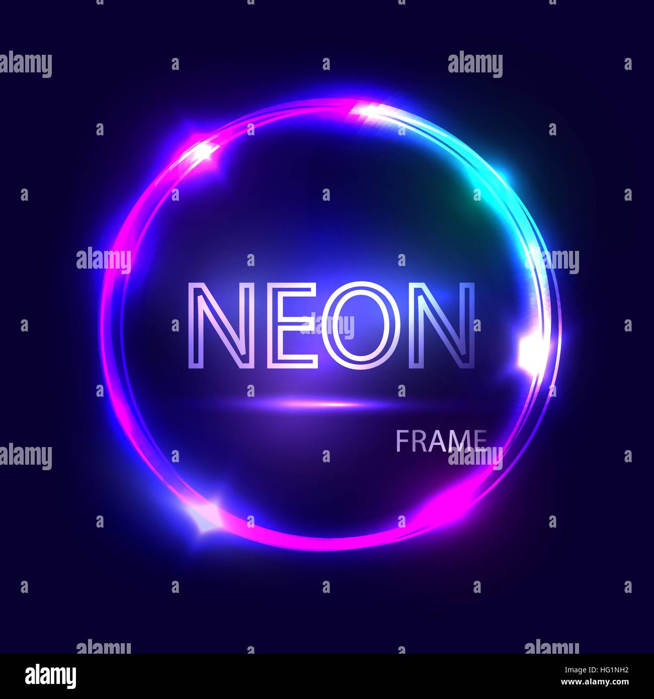 Neon Round Glowing Frame Electric Circle On Dark Background Light