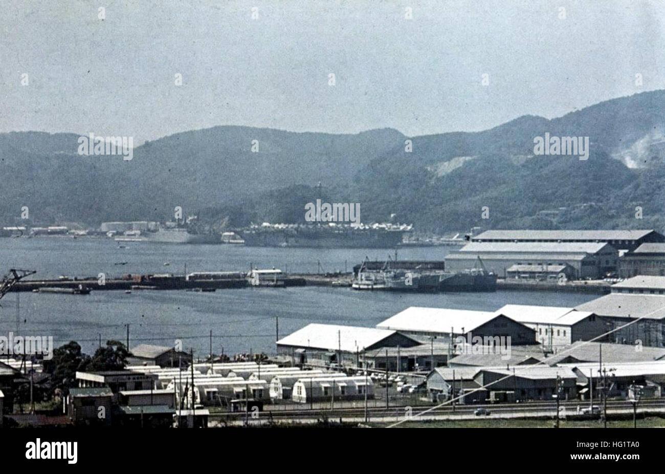 USS Oriskany (CVA-34) at Sasebo in 1969 Stock Photo