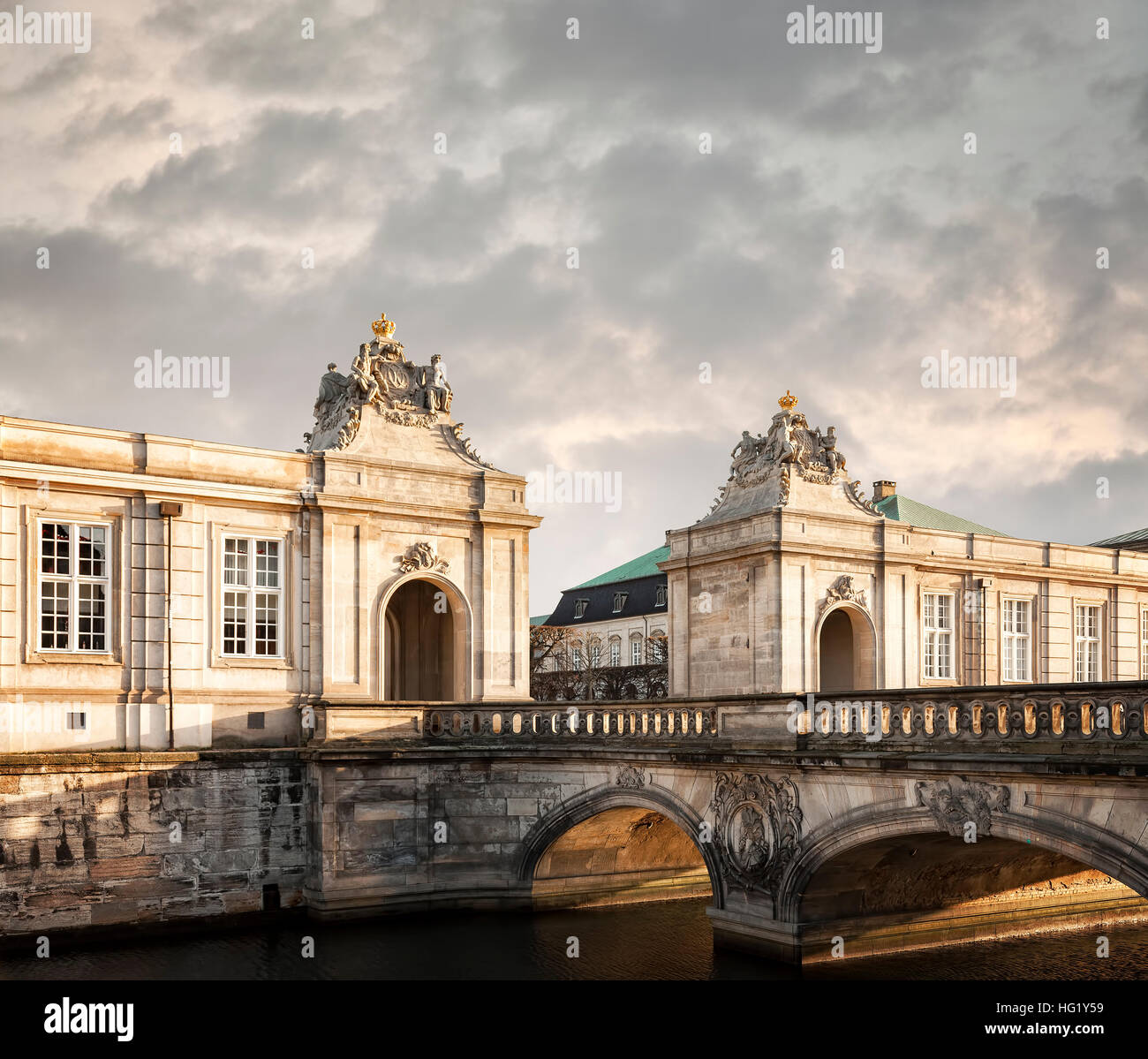 Image of the grand entrance to the castle of Christiansborg in Copenhagen, Denmark. - Stock Image