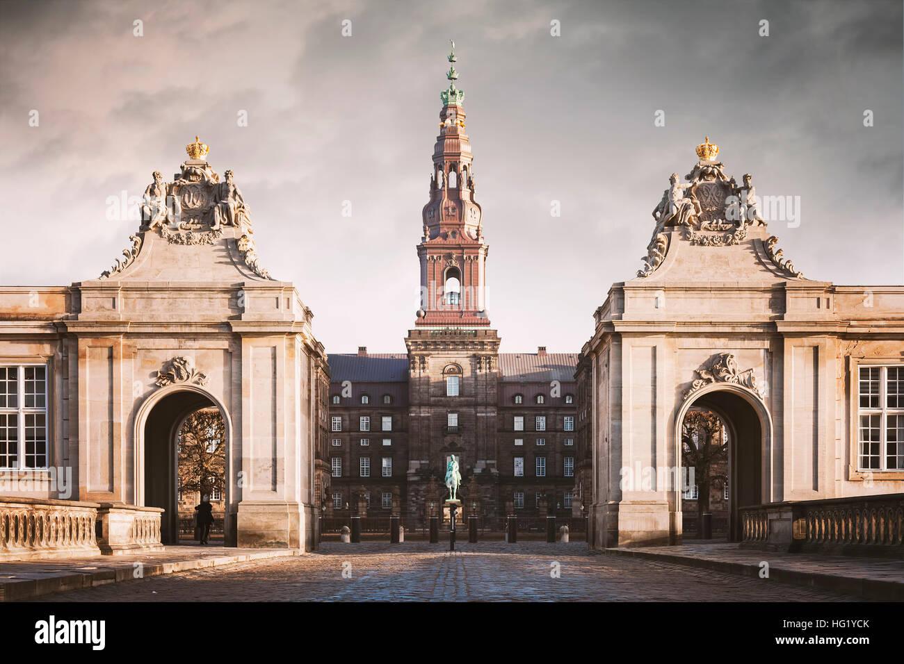 Image of the grand entry to Christiansborg castle in Copenhagen, Denmark. - Stock Image