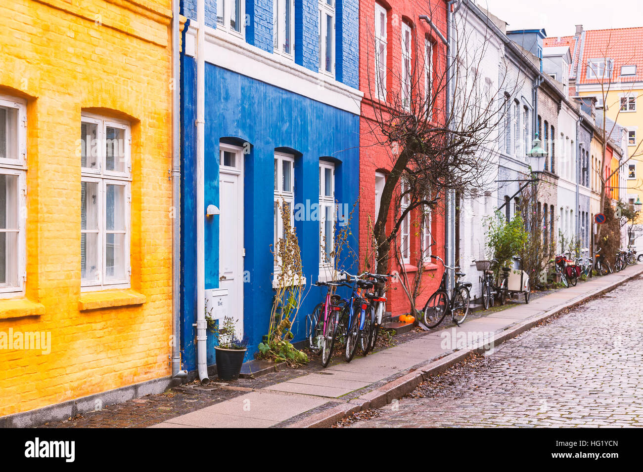 Image of colorful street in Copenhagen, Denmark. - Stock Image