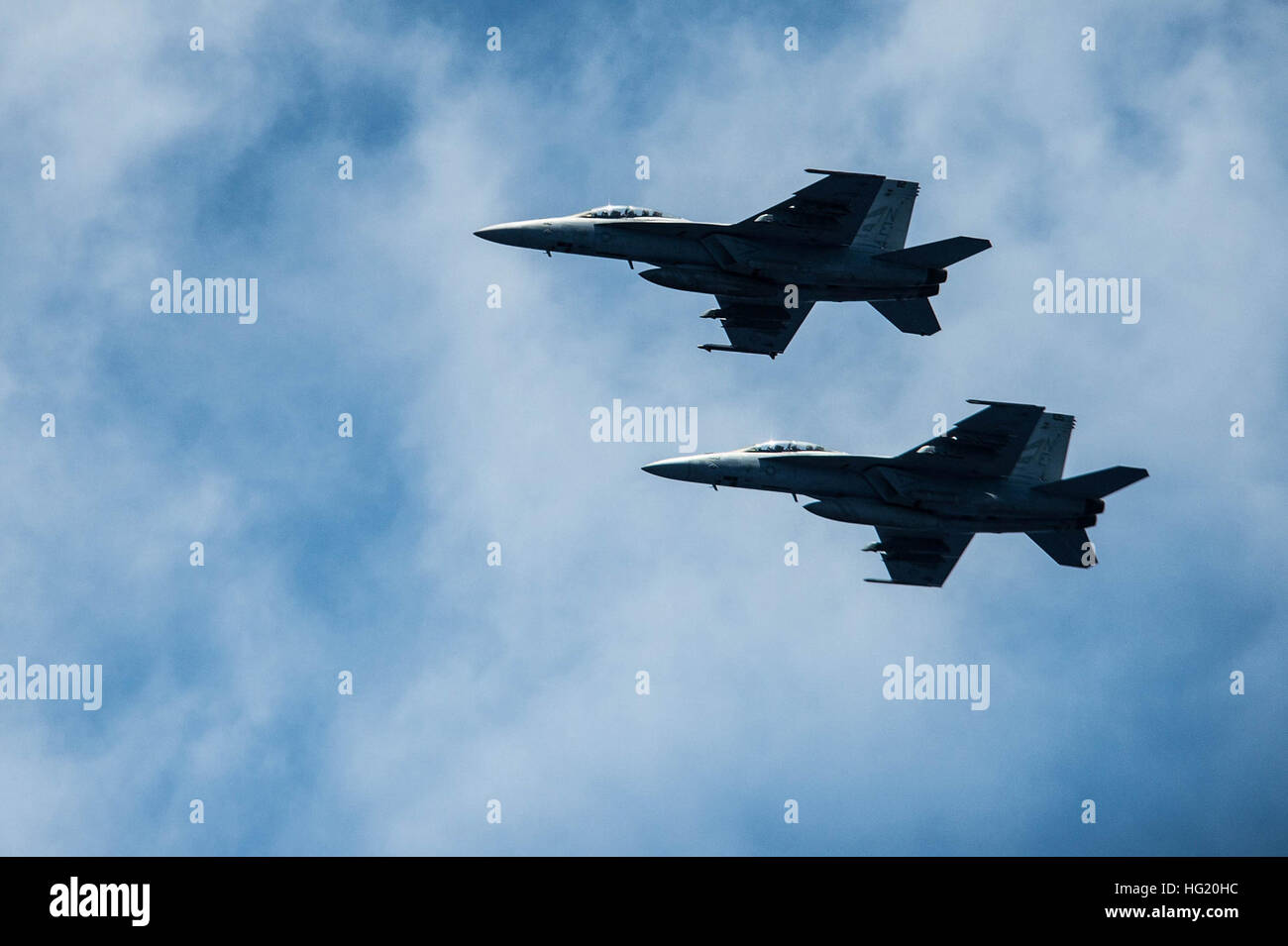 F/A-18 Super Hornets, assigned to Carrier Air Wing (CVW) 2 and embarked on the aircraft carrier USS Ronald Reagan - Stock Image