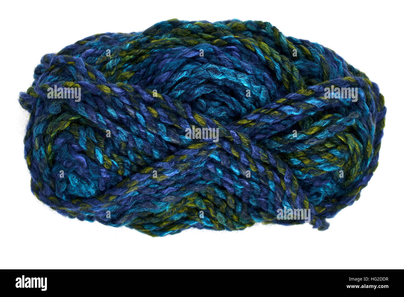 skein of wool on a white background - Stock Image
