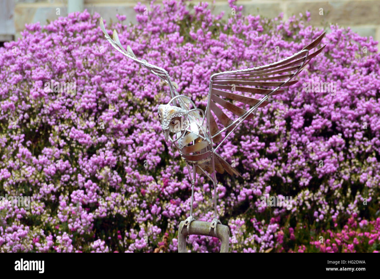 Gentil Metal Owl Sculpture On Spade Handle On A Background Of Heather At RHS Garden  Harlow Carr