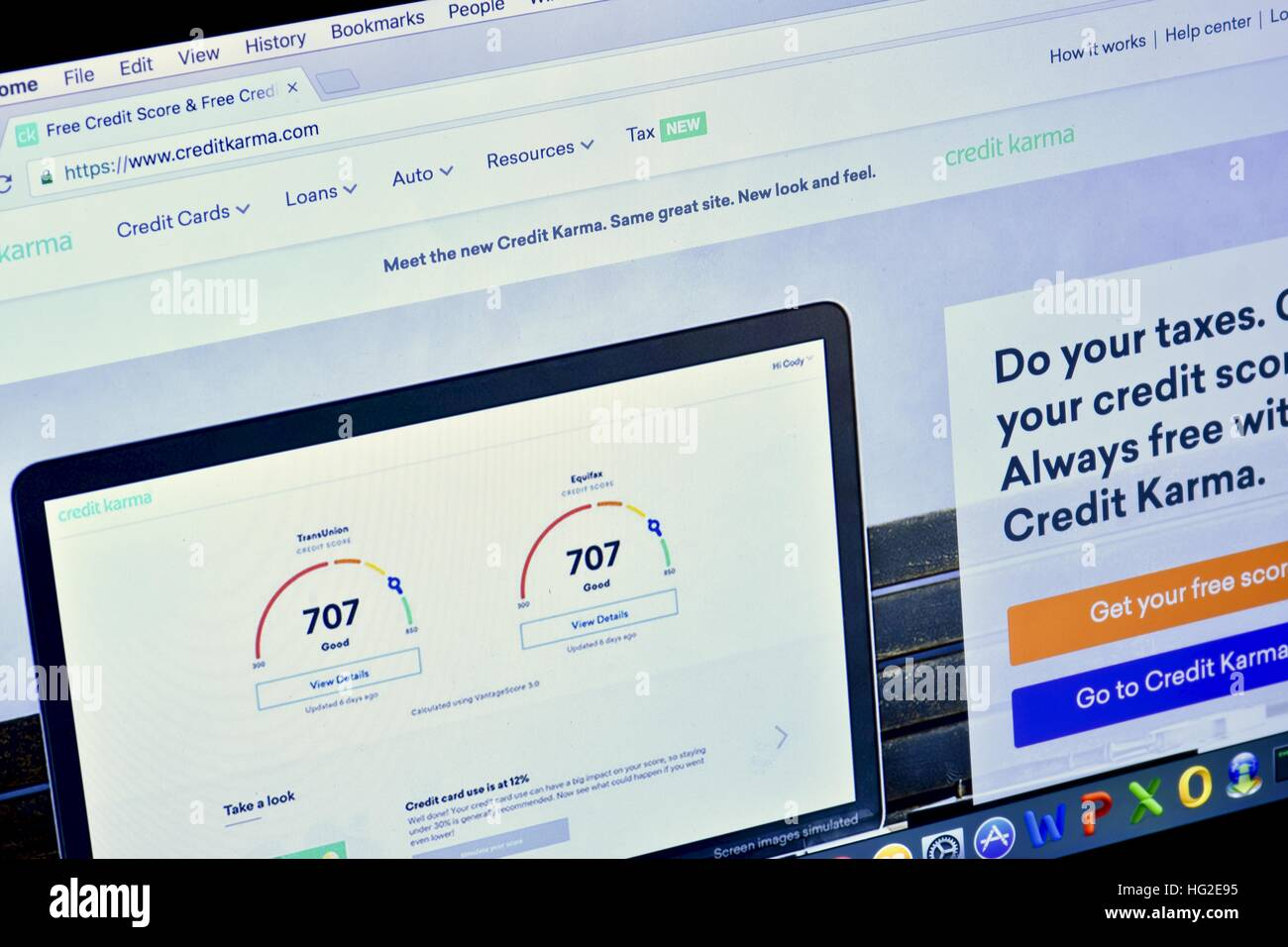 An Apple Macbook Pro displaying the Credit Karma web page Stock