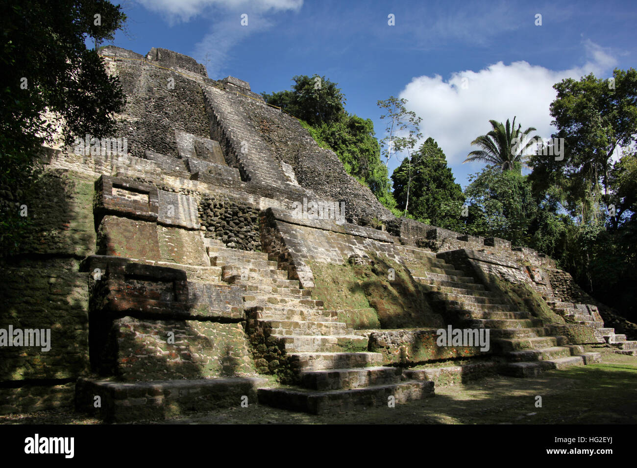 The High Temple of Lamanai, is a Mesoamerican archaeological site, and was once a major city of the Maya civilization, - Stock Image
