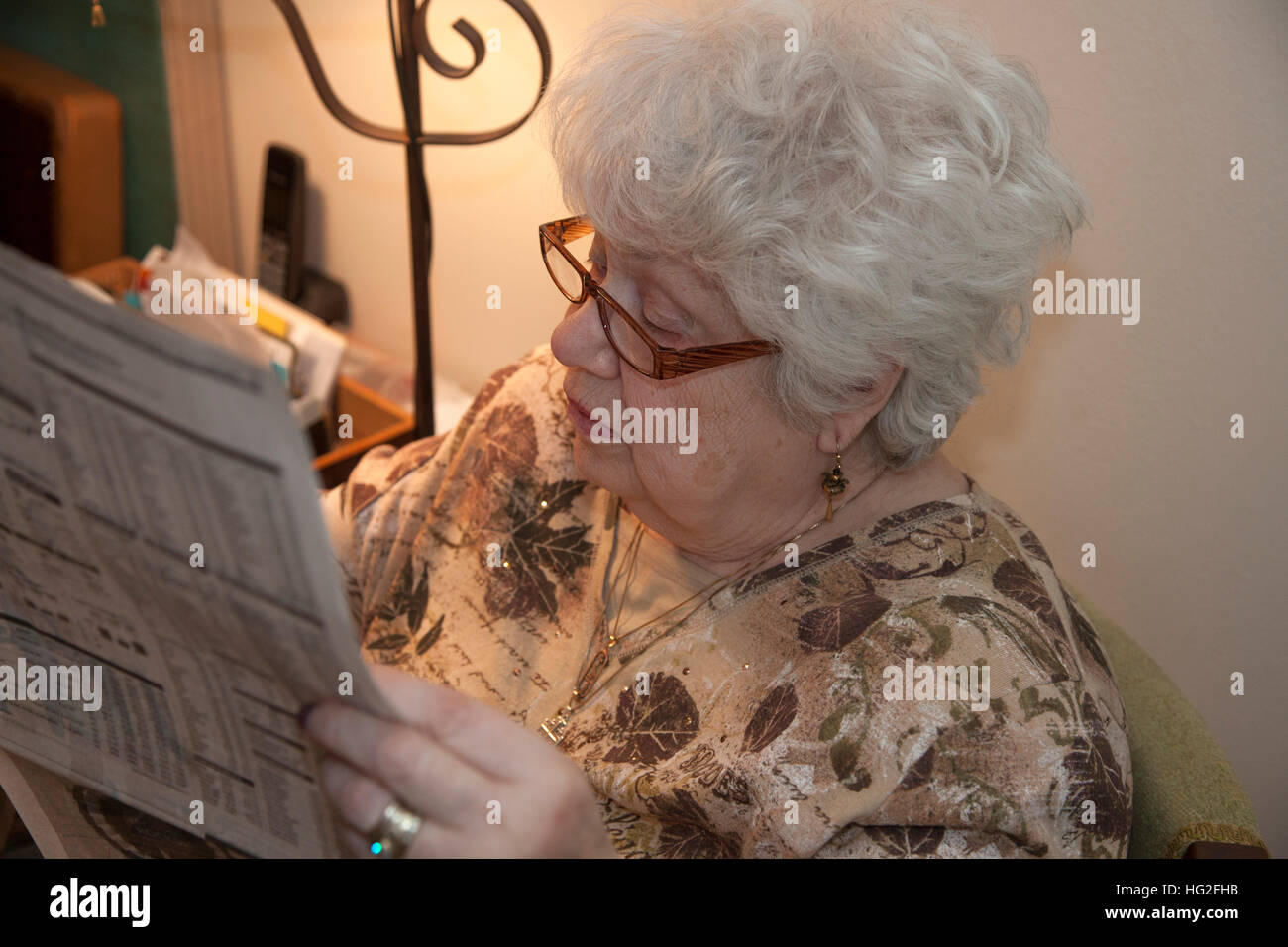 Older Senior woman totally engrossed in reading the newspaper. Downers Grove Illinois IL USA - Stock Image