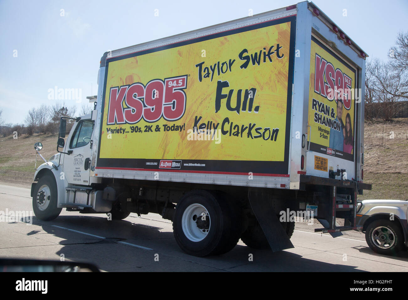 Transport Truck Advertising The Music Of Taylor Swift Kelly Clarkson Stock Photo Alamy