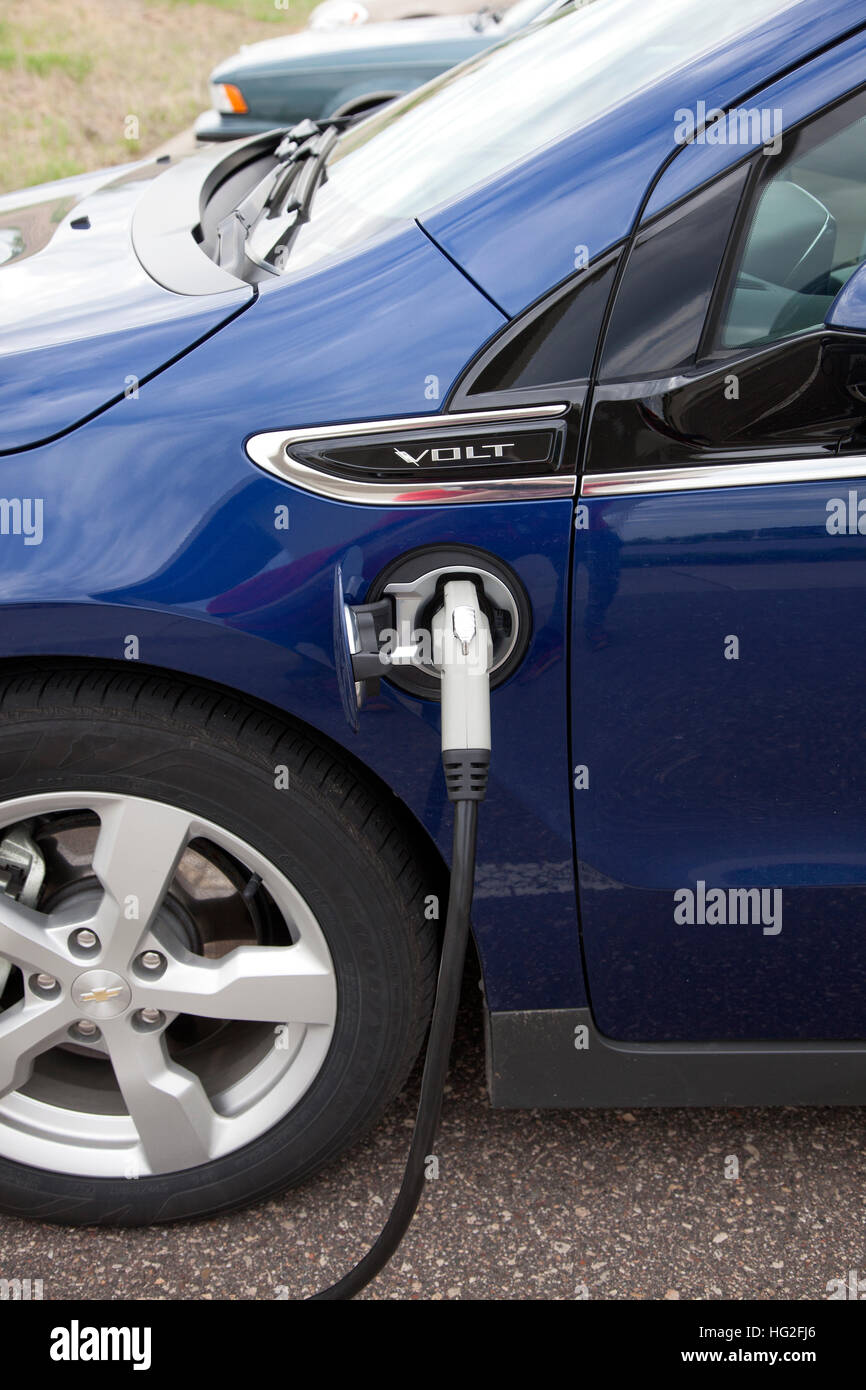 electric port of a chevy volt car being recharged in great river stock photo alamy alamy