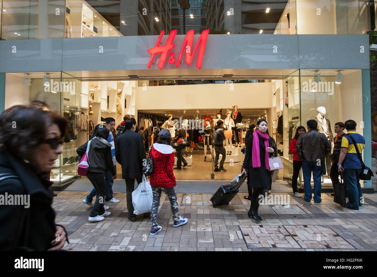 H&M fast fashion retai store Hong Kong - Stock Image