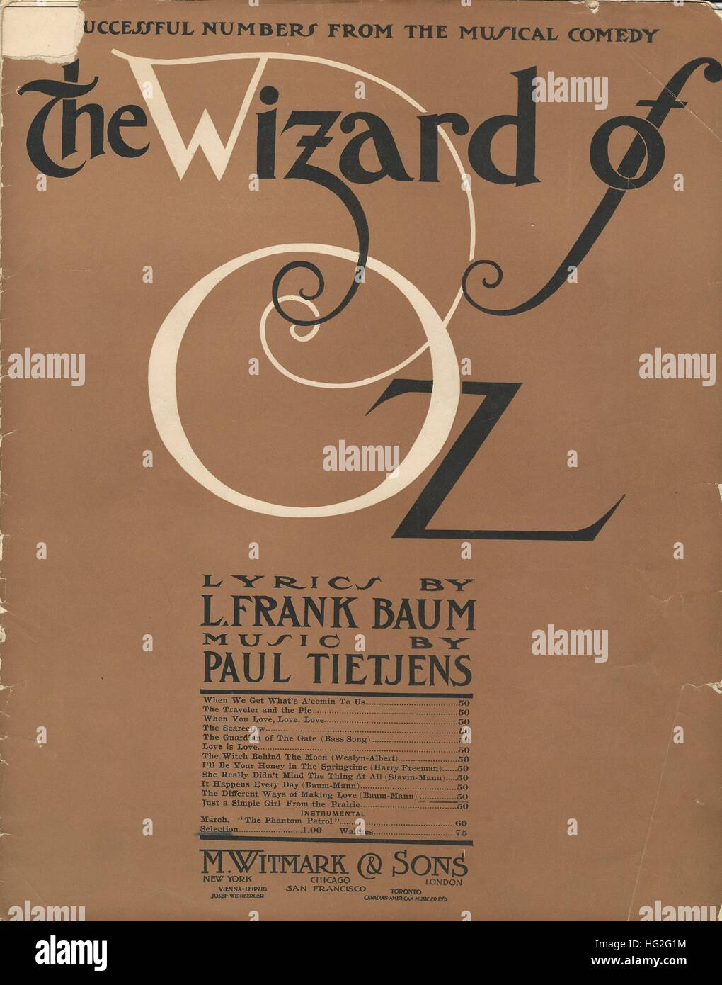 'The Wizard of Oz' 1903 Musical Sheet Music Cover - Stock Image