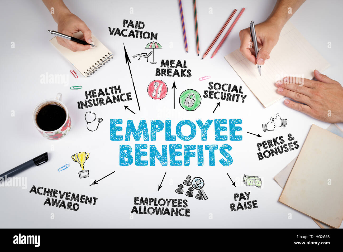 Employee Benefits Concept. The meeting at the white office ...