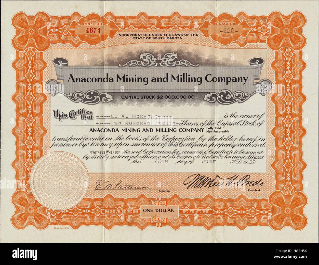 1936 Anaconda Mining and Milling Company Stock Certificate - Deadwood, South Dakota - USA - Stock Image