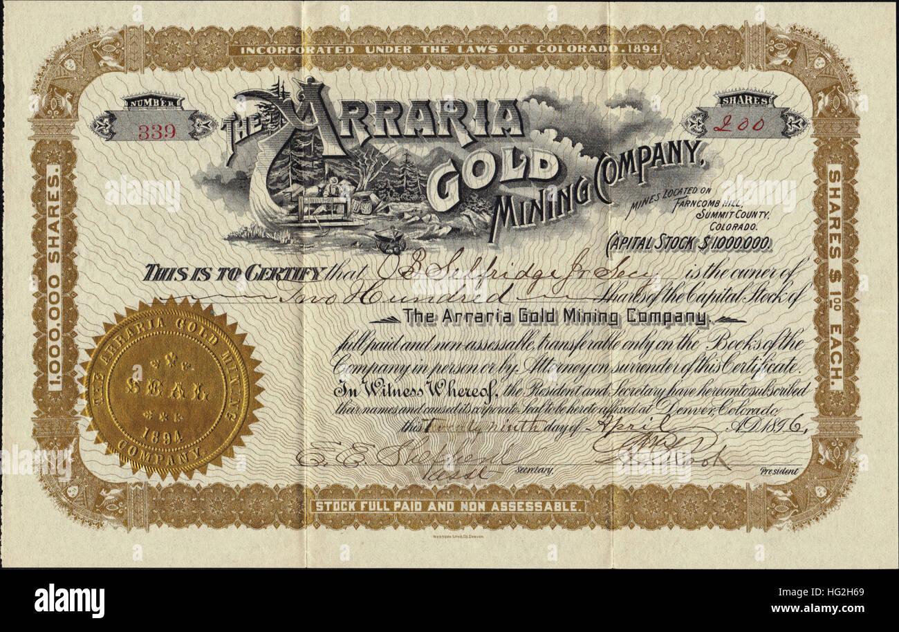 1896 Arraria Gold Mining Company Stock Certificate - Summit County - Breckenridge District - Colorado - Stock Image