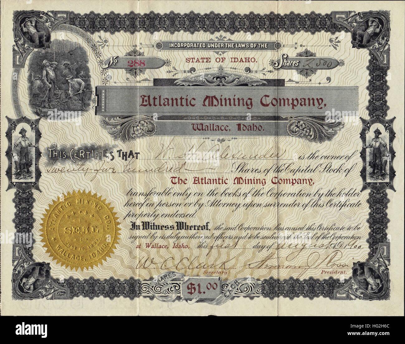 1900 Atlantic Mining Company Stock Certificate - Lead Silver Mine - Wallace Idaho - USA - Stock Image