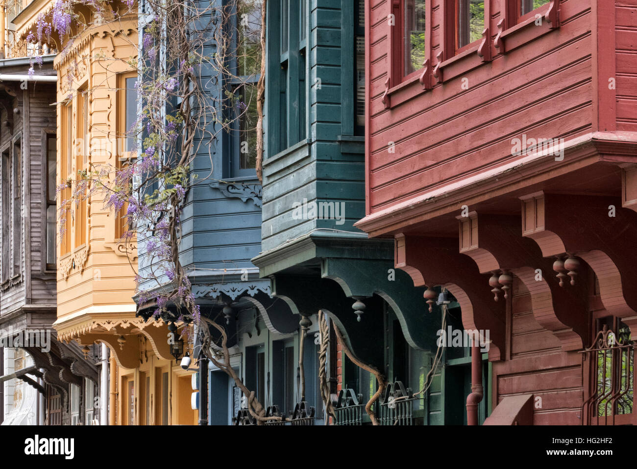 Antique wooden houses in Anadoluhisar, Istanbul Turkey - Stock Image