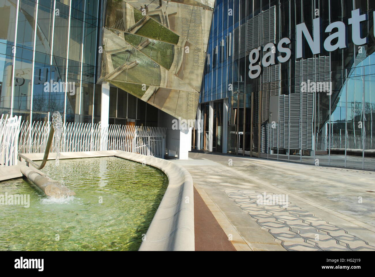Gas Natural Headquarters in Barcelona, Catalonia, Spain,detail of the floor level of the building - Stock Image