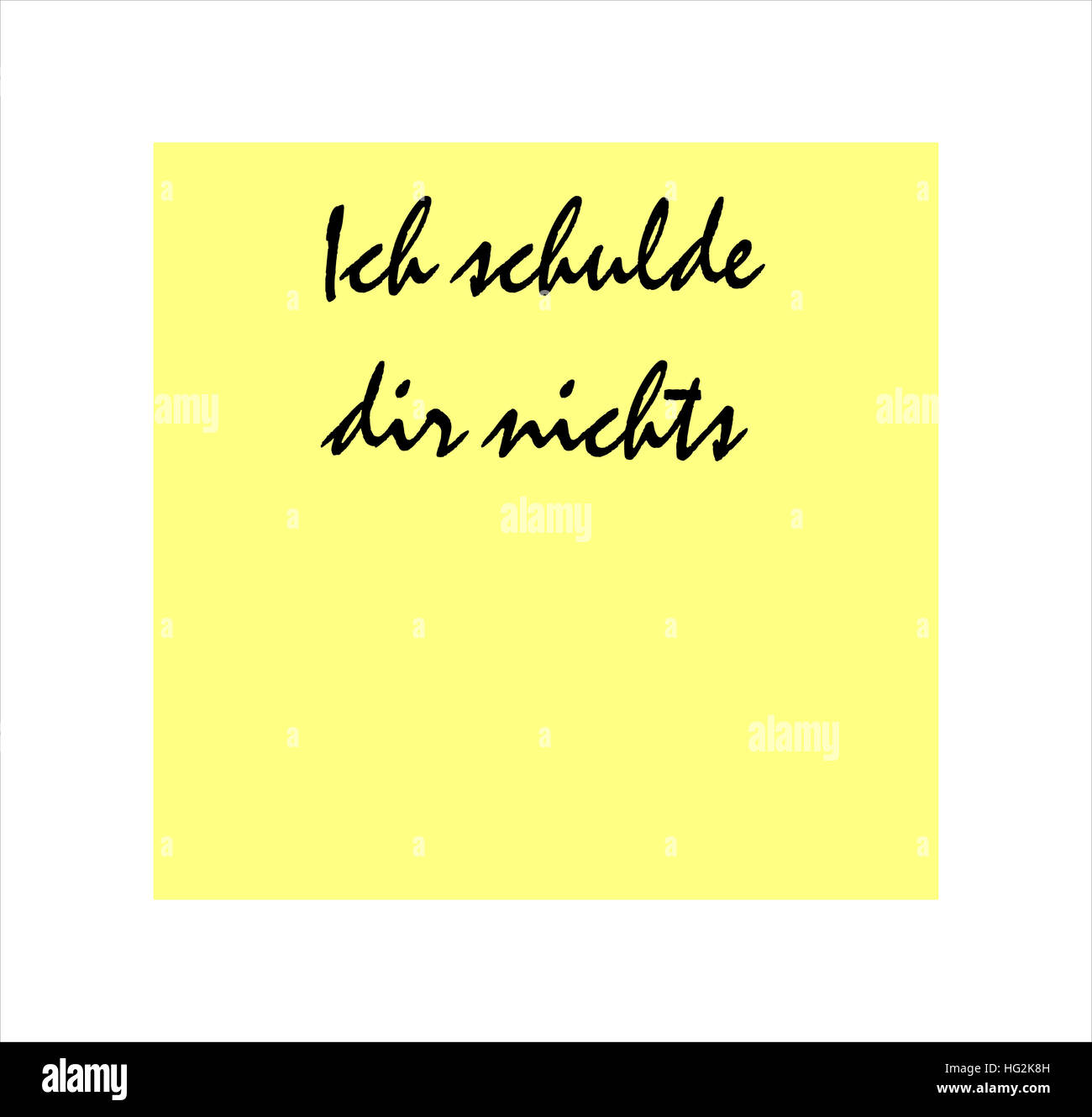 I owe you nothing message in German on yellow post it sticker - Stock Image