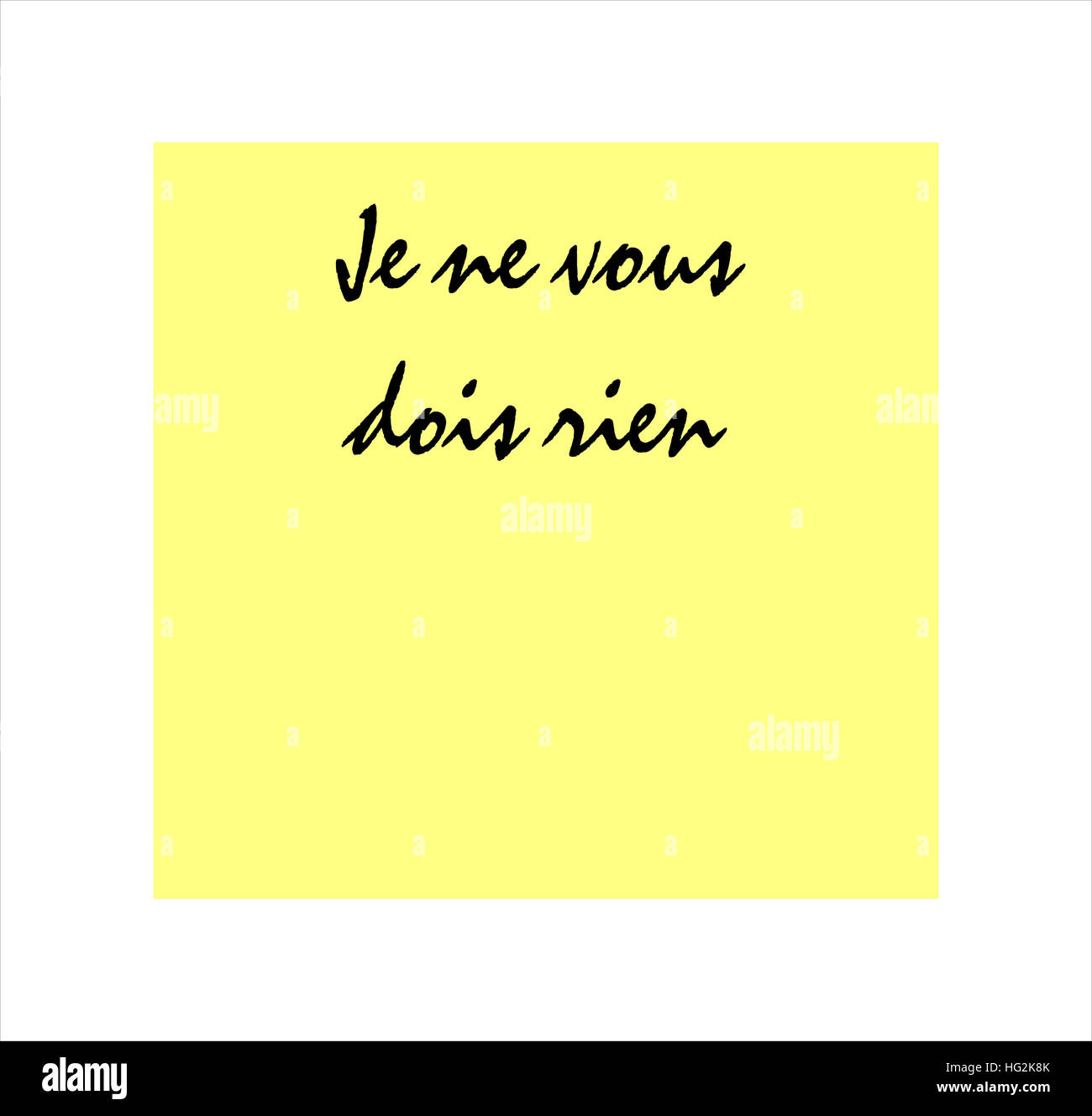 I owe you nothing message in French on yellow post it sticker - Stock Image
