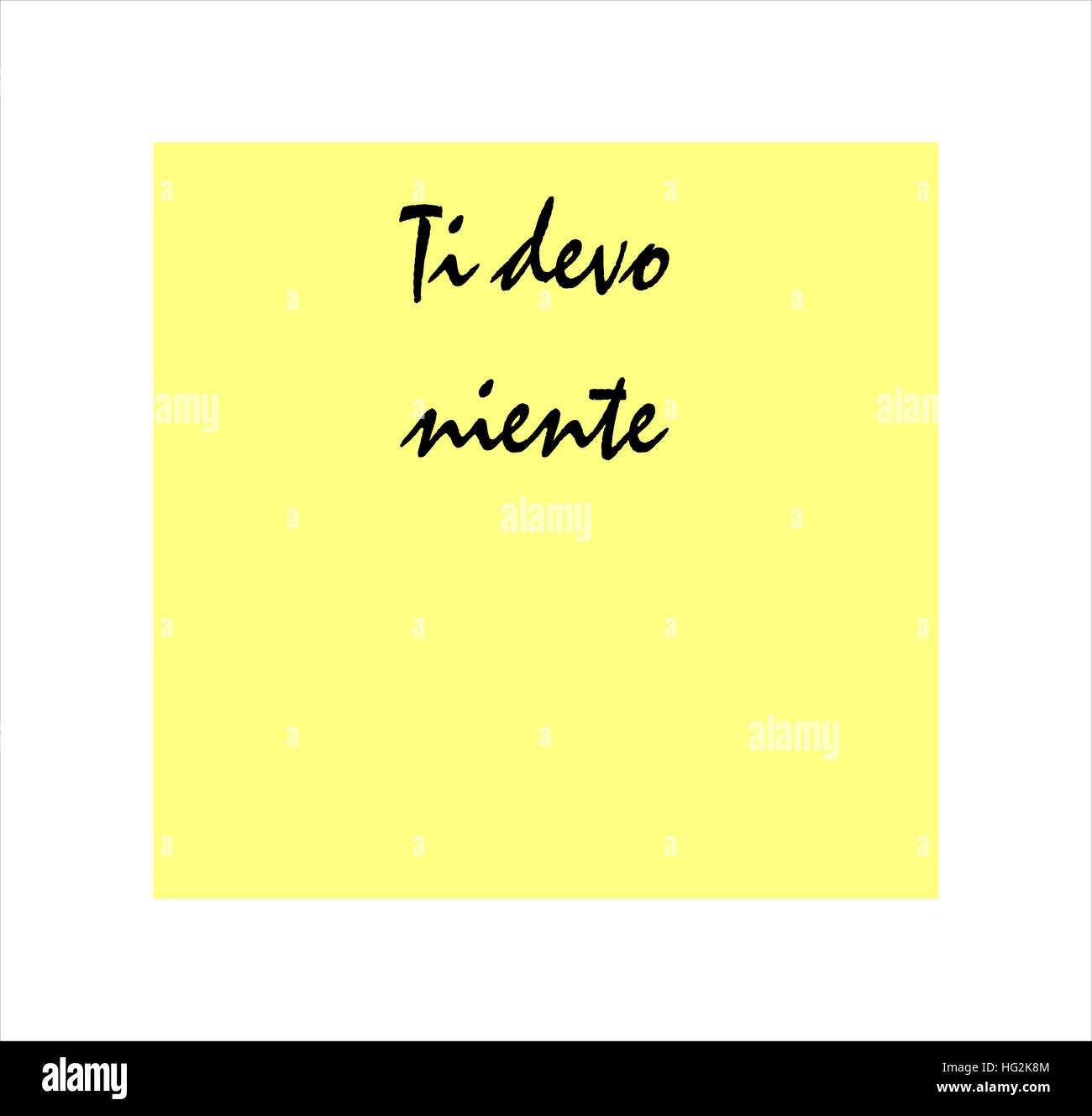 I owe you nothing message in Italian on yellow post it sticker - Stock Image