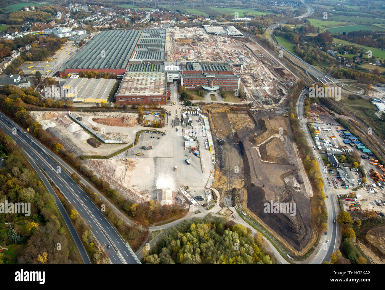 Aerial view, demolition OPEL plant 1, Administration Building, former car factory, General Motors, automotive, Bochum - Stock Image