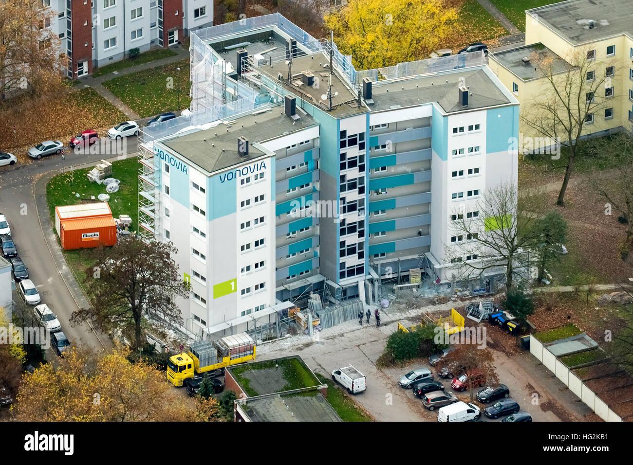 Aerial view, renovations VONOVIA skyscraper and settlement Narcissus Road, social housing, rental housing, Bochum, Stock Photo