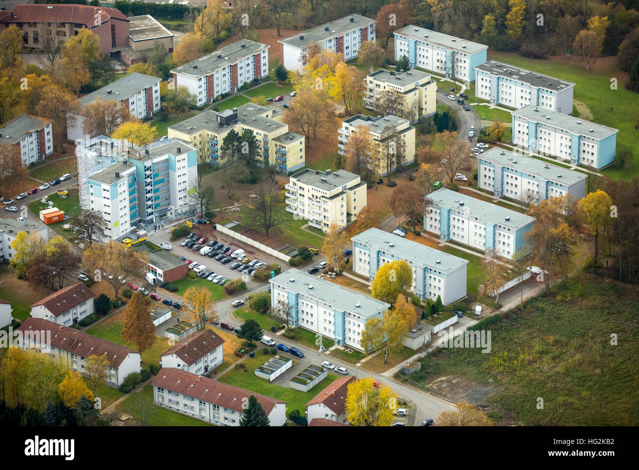 Aerial view, renovations VONOVIA skyscraper and settlement Narcissus Road, social housing, rental housing, Bochum, Stock Photo
