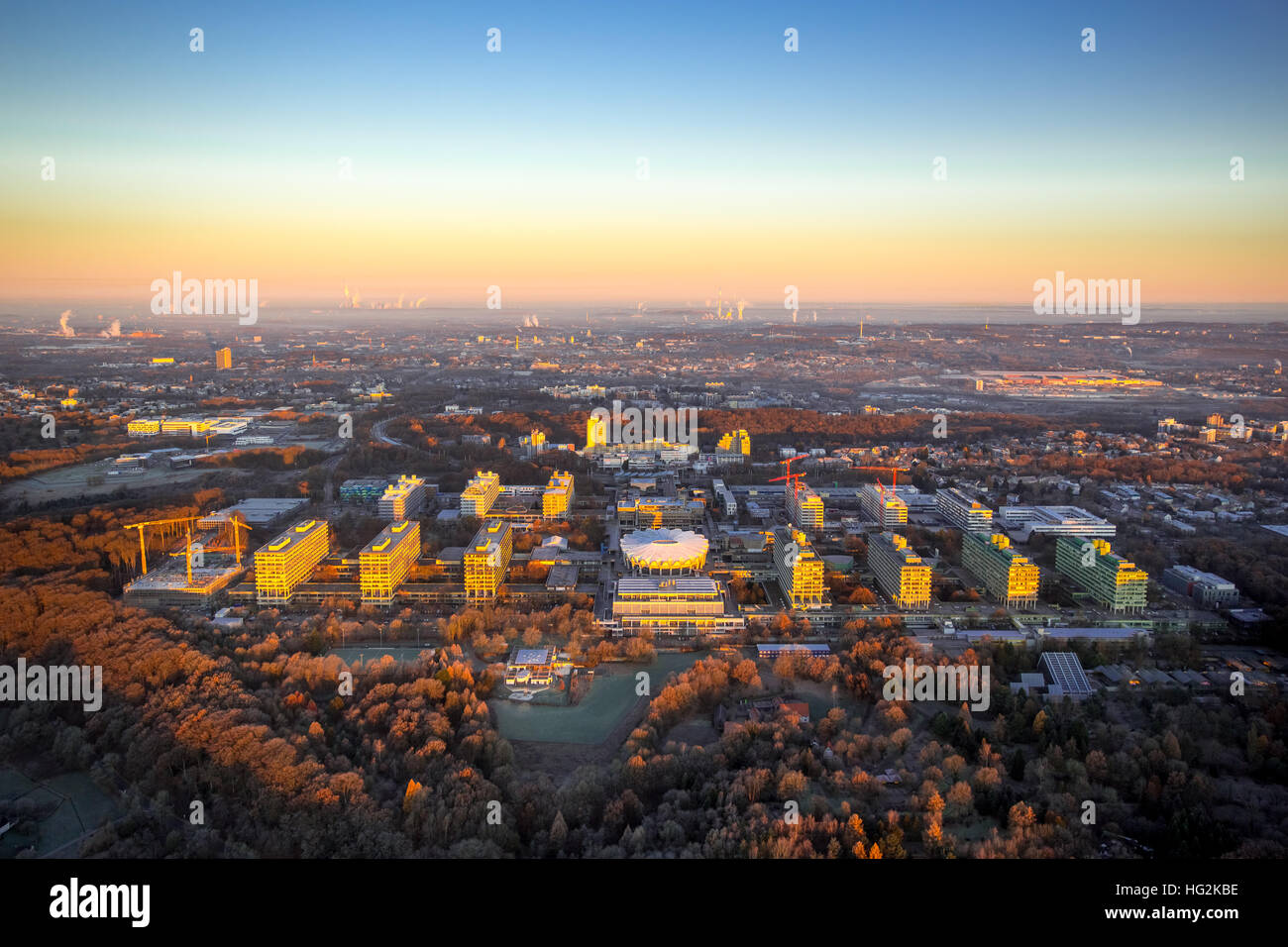 Aerial, Sunrise at RUB Ruhr University Bochum, Bochum, Ruhr aeria, north rhine-westphalia, Germany, Europe, Aerial Stock Photo