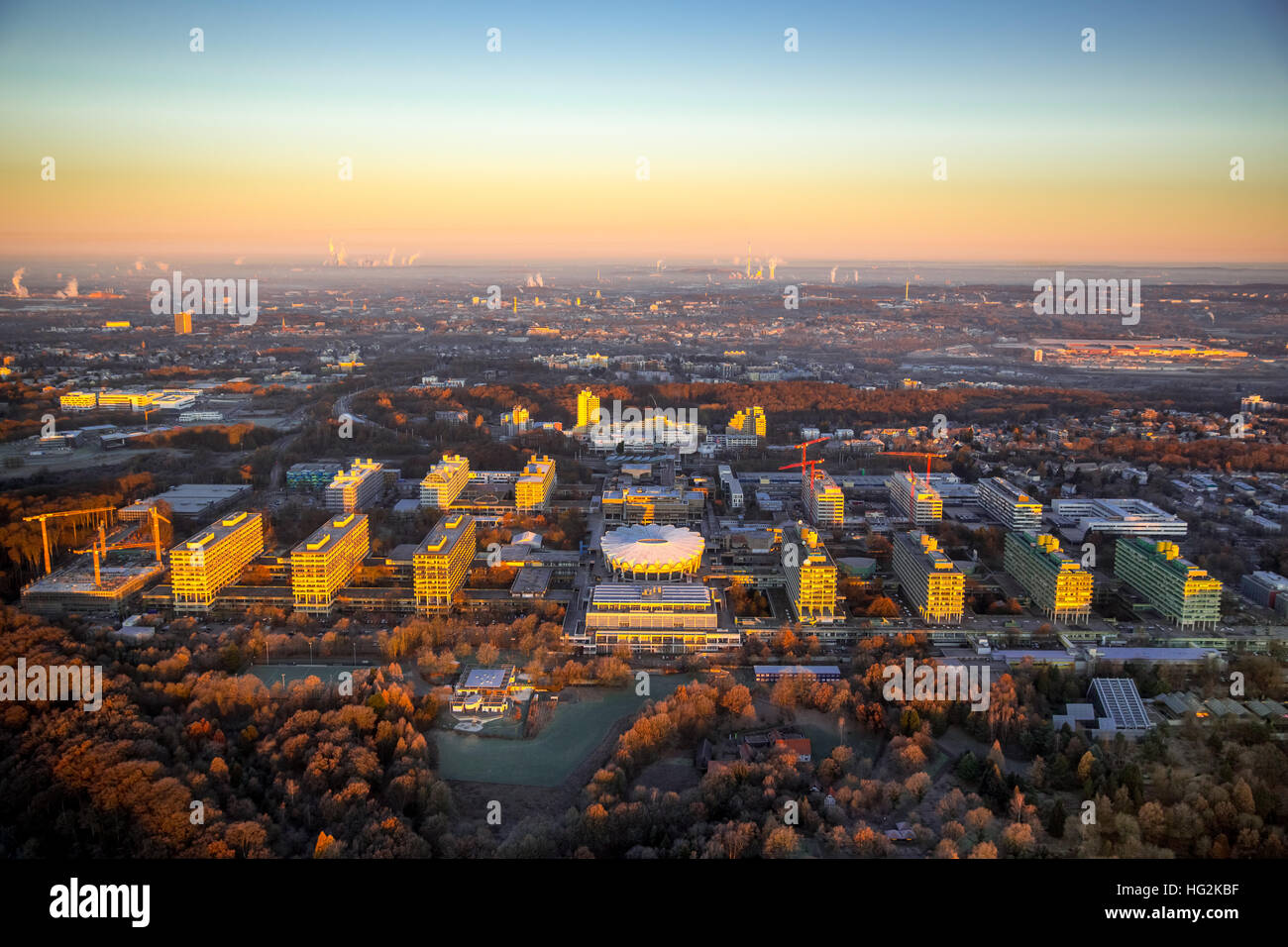 Aerial, Sunrise at RUB Ruhr University Bochum, Bochum, Ruhr aeria, north rhine-westphalia, Germany, Europe, Aerial - Stock Image