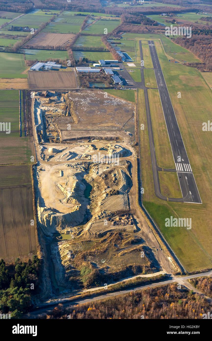 Aerial view, sand pit at the aerodrome Schwarze Heide, Kirchhellen, Bottrop, Ruhr aeria, north rhine-westphalia, Stock Photo