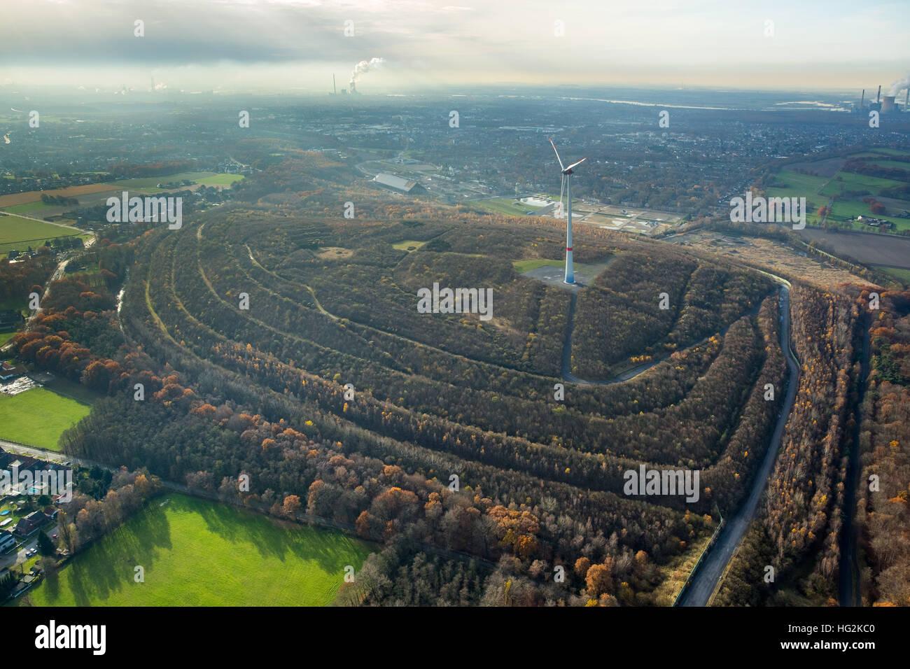 Aerial view, stockpile Oberlohberg, mountains halde, Dinslaken, Ruhr aeria, north rhine-westphalia, Germany, Europe, - Stock Image