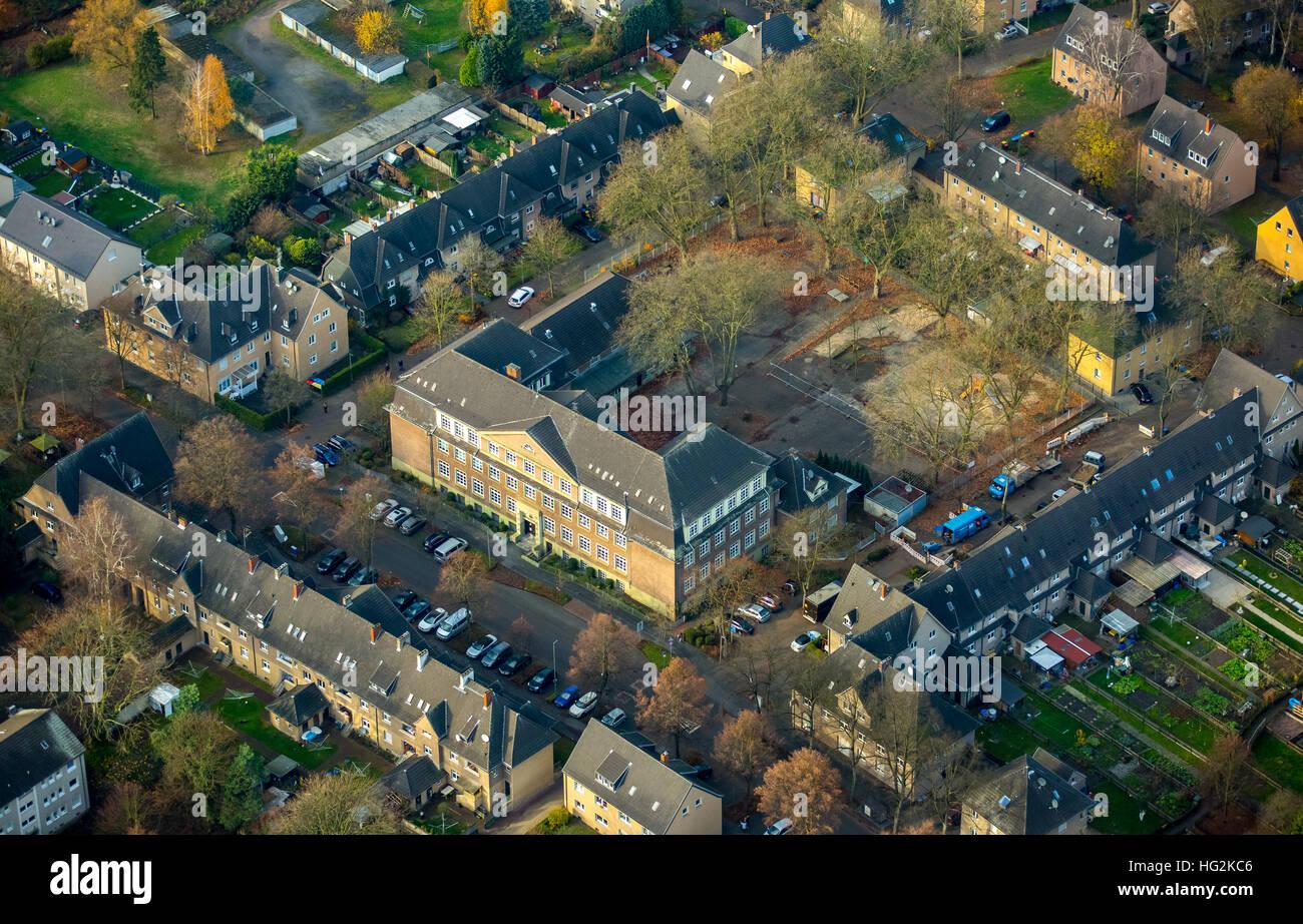 Aerial view, the district Lohberg, Lohberg street Bergmannstraße, Dinslaken, Ruhr aeria, north rhine-westphalia, Stock Photo