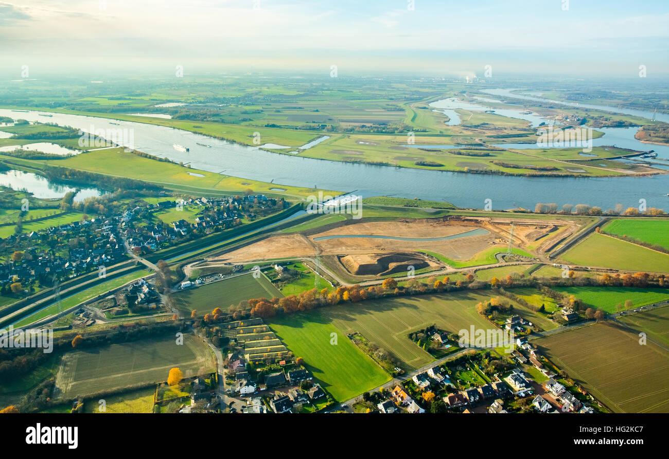Aerial view, Emscher estuary, Rhine meadows, Dinslaken, Rhine, reconstruction of Emscher mouth, Dinslaken, Ruhr Stock Photo