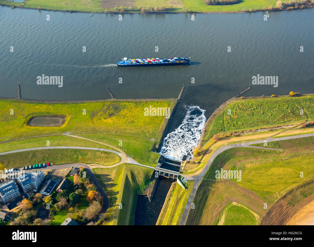 Aerial view, Emscher estuary, Rhine meadows, Dinslaken, Rhine, reconstruction of Emscher mouth, Dinslaken, Ruhr Stock Photo