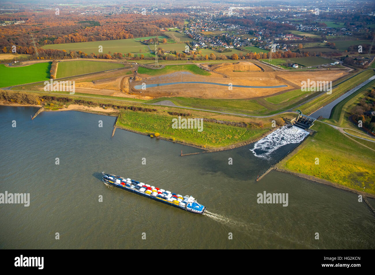 Aerial view, Emscher estuary, Rhine meadows, Dinslaken, Rhine, reconstruction of Emscher mouth, Dinslaken, Ruhr - Stock Image